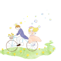 結婚イラスト自転車の二人 200x200 - 結婚相手の決め手。結婚てこんなにいいものだったんですね🎵ベルマリアージュ元会員様より~✉️