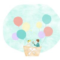 結婚イラスト気球 200x200 - 嬉しい報告続いてます!元会員さんからおめでたニュース(^^)